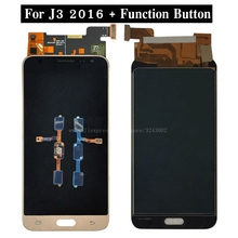 For Galaxy J3 2016 J320A J320F J320M J320 LCD Display Touch Screen Glass Panel Digitizer with Function Button Flex Cable(China)