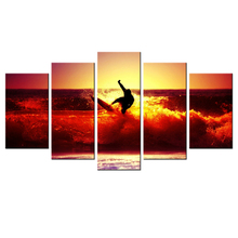 HD Picture Canvas Surfing On Red Waves At Sunset Modern Giclee Print Artwork Home Decor Wall Poster 5 Piece Seascape Painting