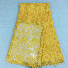 2016 New special high quality african lace french lace for wedding african lace fabric swiss voile lace in yellow HR6-51