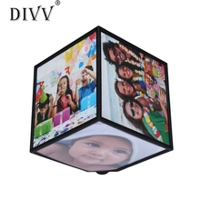 DIVV Top Grand Revolving Picture Photo Frame Cube Multiple Picture Frame 360 Rotating Revolving MULTI Picture Photo Frame Cube(China)