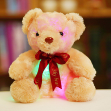 25cm Creative Light Up LED Teddy Bear Stuffed Animals Plush Toy Colorful Glowing Teddy Bear Christmas Gift for Kids YYT222(China)