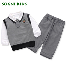 SOGNI KIDS Baby Boys Blazer Wedding Suits for Boys Toddler Vest T shirt Tie Pants Set Cotton Clothes Preppy Style School Uniform(China)