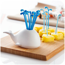 Creative cute fruit pick whale food pink dessert cake fork holder dining table decor home kitchen useful party utensils(China)