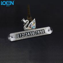 1PCS Aluminum Alloy Rhinestone Swan Car Parking Plate With Sucker Phone Number Plates High Quality Auto Accessories Universal(China)