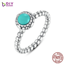 Birthday Blooms Ring December Turquoise Stackable Bubble Ring 100% Fine 925 Sterling Silver Jewelry PA7162