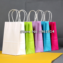 40PCS/lot Kraft paper Gift bag with handle/ 21x15x8cm/wedding birthday party gift package bags / Christmas new year Wholesale