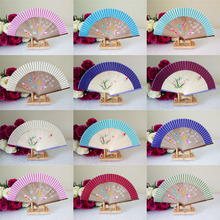 50Pcs Customized Hand Fans,Wedding Anniversary Gift For Guests,Flower&Butterfly Silk Folding Fan Favor,Personalized Wedding Gift