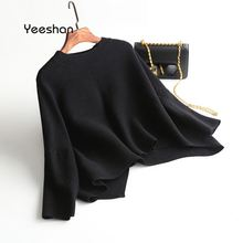 Yeeshan Winter Sweater Women 2017 O-Neck Mujer Sweater Black White Camel Elegant Flare Sleeve Womens Cashmere Jumper Women