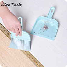 ISHOWTIENDA Mini Desktop Sweep Cleaning Brush Small Broom Dustpan Set Dustpan Broom Desktop Broom House Cleaning Accessories(China)