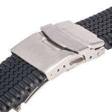 New Silicone Rubber Watch Strap Band Deployment Buckle Waterproof 20 22 24mm