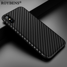 For iPhone X Case Carbon Fiber Cover Roybens Business Soft Silicone Leather Skin Case For Apple iPhone X Tire Defender Fundas(China)