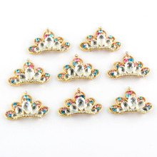 20pcs/lot New Design Alloy Crown With Colorful Czech Crystal Rhinestones Button Golden Color For Hair Flower DIY Accessory PJ18