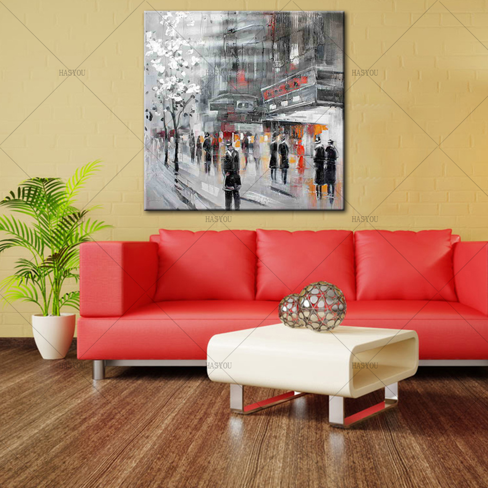 Unframed-Abstract-Modern-Landscape-New-York-City-Street-View-Handmade-Oil-Painting-On-Canvas-Home-Decor