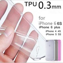 Free shipping 2017 new 0.3mm Crystal Clear Soft Silicone Transparent TPU Case cover for iPhone 7 7Plus 6 6S 6 Plus 5 5S 5C 4 4S