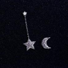 Pure 925 Sterling Silver Crystal Moon And Star Earrings For Women Girls Christmas Gift Hot Fashion sterling-silver-jewelry(China)