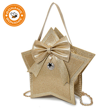 BONAMIE Personality Cute Bowknot Pentagram Handbag Five Star Shape Female Shoulder Bag Lady Crossbody Women Party Evening Bag(China)
