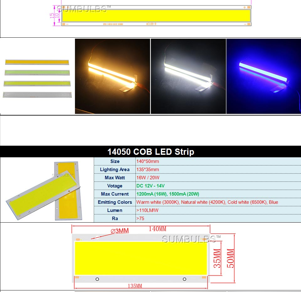 DC12V LED COB Bulb Light Emitting Diodes 2W-200W Round COB Strip White Red Blue Color 12V LED Lamp Chip for Auto Car Bulbs DIY (8)