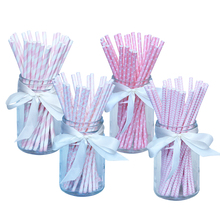 100pcs/lot Pink Paper Drinking Straws Drinking Tubes Party Supplies Decoration Baby shower