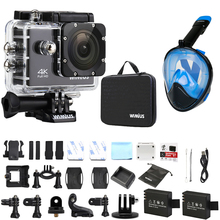 Wimius Sport Action Camera 4K wifi Go 40M Underwater Waterproof Pro +Snorkel Diving Mask + Accessories(China)