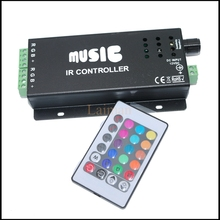 NEW Sound Activated RGB Music Controller 144w 2 Ports Output for Color Changing LED Strips with Remote Control 144w 5050 RGB