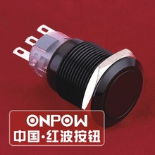 ONPOW 19mm Waterproof IP67 1NO1NC Momentary Black Anodized aluminium alloy Push Button Switch (LAS1-AGQ-11/A) CE, UL, ROHS(China)