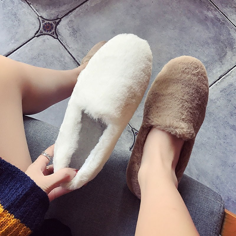 SWYIVY Woman Fur Warm Loafers Cotton Padded 2018 Winter Velvet Warm Female Casual Shoes Solid Flat Home Footwear Snow Shoes
