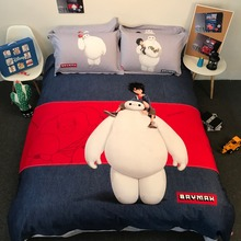 Disney cartoon baymax bedding set 100% cotton comforter cover queen size 3/4/5pc adults kids home decor king twin red gray