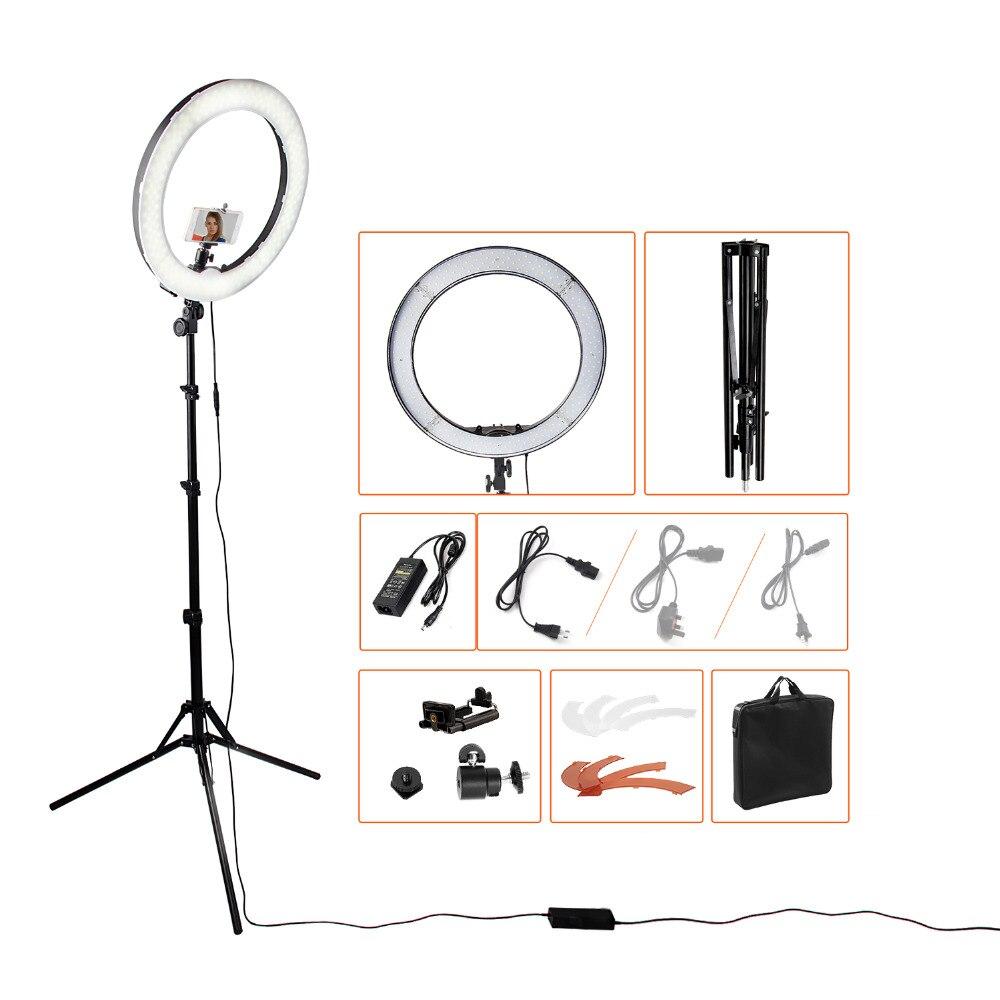 Кольцевая светодиодная лампа, 18 дюймов, 5500К, регулируемой яркости на 240 лампочек с подставкой-треножником для камеры – для съемок, фотографи...(China)