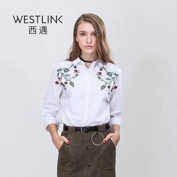 Westlink 2017 Printemps Nouveau Floral Broderie Décent Turn-Down Col Pur Coton Lâche Femmes Chemisier Blanc