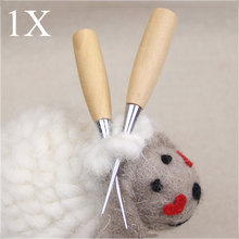 Wooden Handle Sewing Awl Speedy Hand Stitcher Leathercraft Canvas Leather Tent Sewing Awl Needle Kit Tool E2S(China)