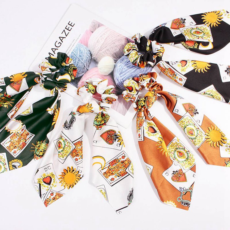 Women Tiara Satin Ribbon Bow Hair Band Rope Scrunchie Ponytail Holder Elastic Gum for Hair Accessories