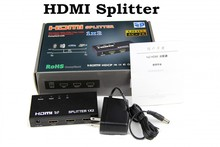 5pcs HDMI Splitter 1x2 1080P 1 IN 2 OUT HDMI Splitter Converter Box With Power Adapter Support 4K*2K 3D For HDTV PS3 TV Box