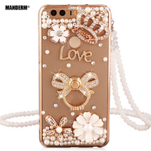 Huawei Honor 8 luxury brand Rhinestone case cover stand holder for huawei honor 8 Silicone soft honor8 case diamond bling cases