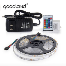 Goodland RGB LED Strip Light IP65 SMD2835 5M 300LEDs Flexible LED Ribbon LED Tape + IR Remote Controller 12V 2A Power Adapter(China)
