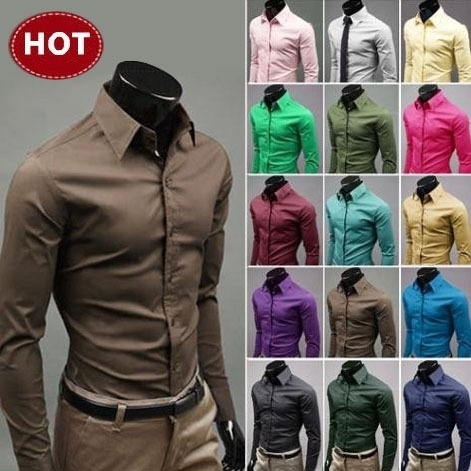 Casual Shirts Dress Slim-Fit Long-Sleeve Unique Mens Stylish Turn-Down-Collar Neckline title=