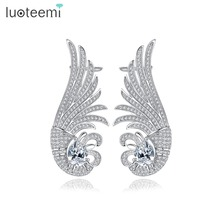 LUOTEEMI New Luxurious Ear Cuff White Gold Color Clip on Earrings Earclips for Women Girls Fashion Shining CZ Jewelry Gift(China)