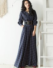 Jessica's Store AutumnWinter Women Vintage Elegant Slim Brief O-Neck Long Sleeve Casual Loose Cotton Linen Plaid Maxi Long Dress(China)