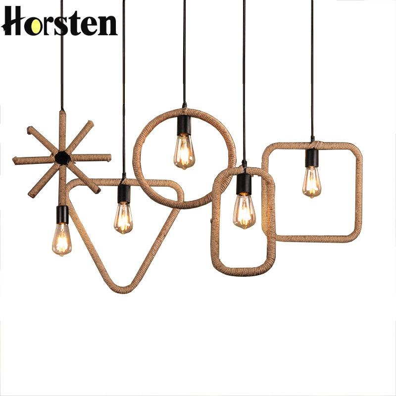 Horsten Loft Vintage Pendant Lights Hemp Rope Geometric Pendant Lamps E27 Hemp Rope Light For Dining Room Cafe Bar Restaurant<br>