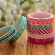 7 Pcs/Set Candy Color Rainbow Striped Dots Washi Tape Set Decorative Scotch Tape Papelaria Label Masking Sticker Tape