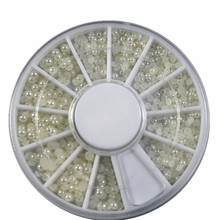 1wheels Hot 3d Glitter Nail Art Pearl Tips Rhinestones Flatback Bead Pearl Decorations DIY Nails Cellphone Cloth Notebook NC047(China)