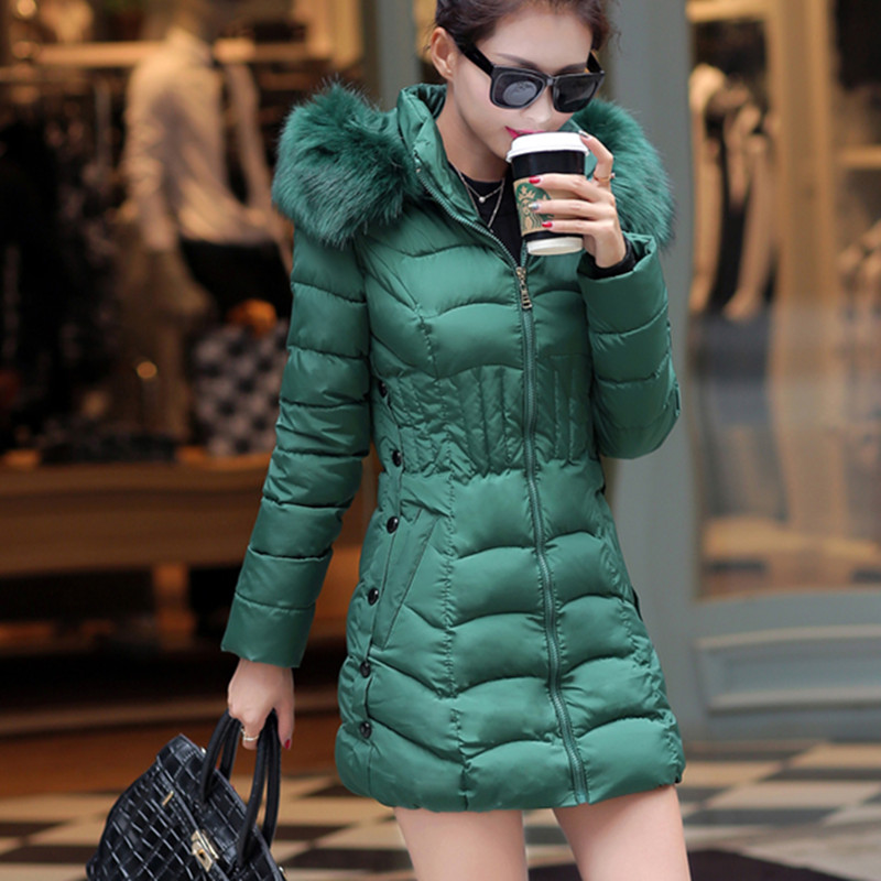 Winter Parkas Jacket Women Elegant Cotton Warm Coat Hooded Fur Collar Outwear Slim Casual Short OvercoatÎäåæäà è àêñåññóàðû<br><br>
