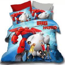 Big Hero 4pcs Bedding set Bedclothes Duvet cover set  Quilt cover Bed sheets  Full/Queen/King Size Double Bed line Bed sets