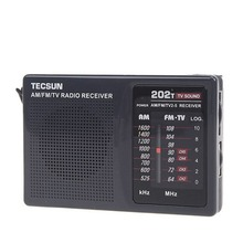 TECSUN R202T AM FM TV Radio Receiver 2 Band Compact Radio Grey LED Indicator Built-In Speaker Y4126H(China)