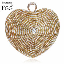 Formal Dinner Party Heart Crystal Evening Bag For Women Diamond Knuckle Box Clutch Bag Bridal Wedding Finger Ring Totes Handbags