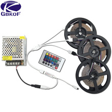 20M 15M 10M 5M RGB LED Strip Lights 3528 non waterproof SMD Flexible RGB Ribbon Tape Set +Remote Controller+DC 12V Power Supply