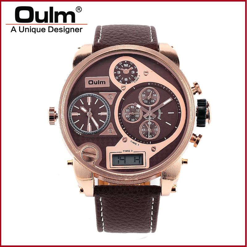 2017 OULM Brand Mens Sport  Watch Multiple Time Zone Quarts Wristwatch Brown Black White<br><br>Aliexpress