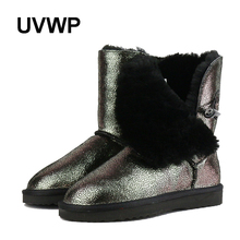 Hot Sale Natural Fur Boots Women Snow Boots Fashion Mid-Calf Boots Women Waterproof Genuine Leather Snow Boots Warm Winter Boots