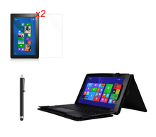 Soft Keyboard Station Flip Stand PU Leather Case Cover +2 * Clear Films + Stylus For ASUS Transformer Book T100 Chi T1 Chi 10.1""
