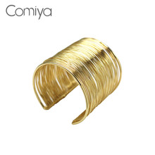 Comiya Arm Cuff Wholesale Punk Rock Jewelry Wide Silver Gold Color Indian Bangles Cc Bracelet Bangle Wrist Open Boho Vintage(China)