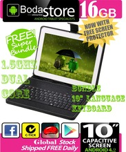 "10.2 10.1 inch 16GB GOOGLE ANDROID 4.4 TABLET PC CAPACITIVE SCREEN E READER PAD TAB Bundle 10"" Keyboard(China)"